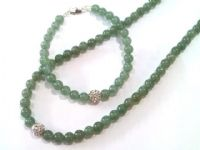 jade necklace with sparkling crystal